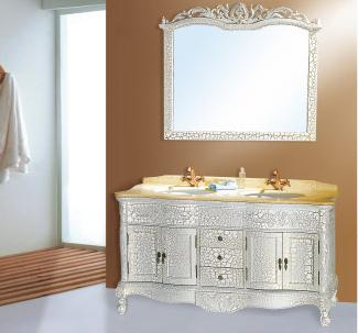 供应丹枫白鹭大理石台面双盆实木浴室柜fg088