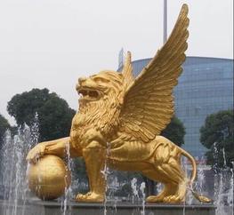 上海金色飞狮玻璃钢雕塑