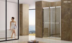 双移门一字形屏风不锈钢淋浴房 0582