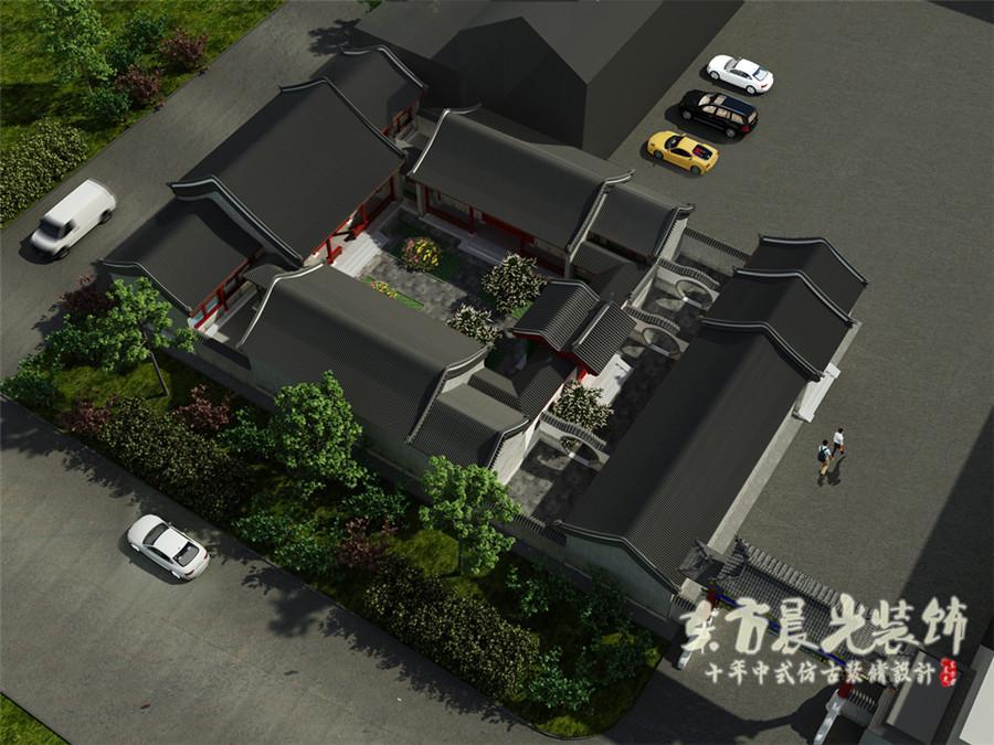 仿古二层办公四合院别墅建筑设计施工图 33.3x27.3 四合院建筑效果图