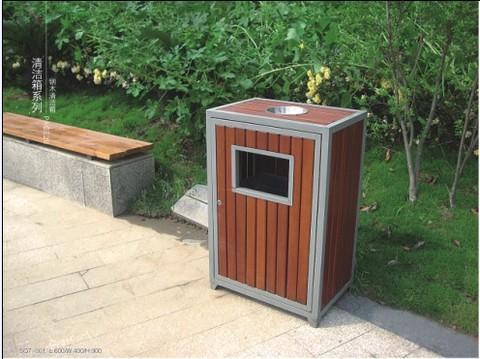 钢木清洁箱/钢木垃圾箱/钢木分类垃圾桶sq7-001
