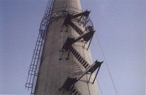 大同烟囱安装旋转梯|烟囱折梯安装|烟囱安装检测平台