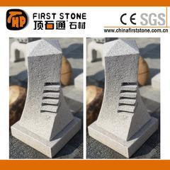 荔枝面灰白色花岗岩旋转灯笼雕刻GGL382