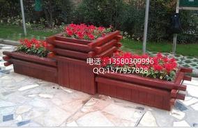 室外组合木制花槽-道路花坛