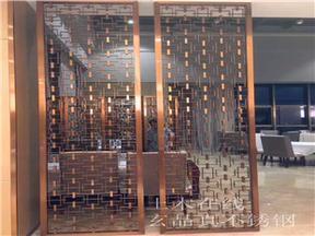 【品真不锈钢厂家畅销拉丝满焊玫瑰金方形花格屏风