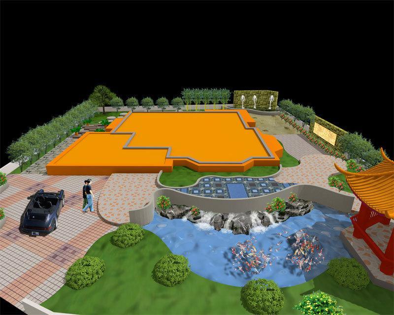 别墅园林景观设计局部效果图2