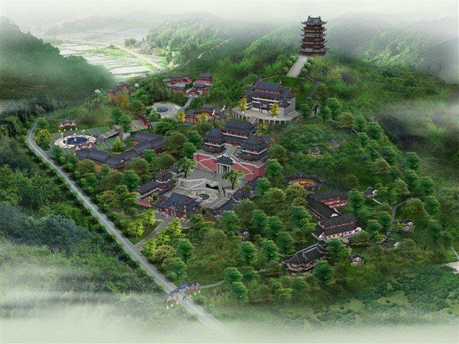 寺院建筑鸟瞰图