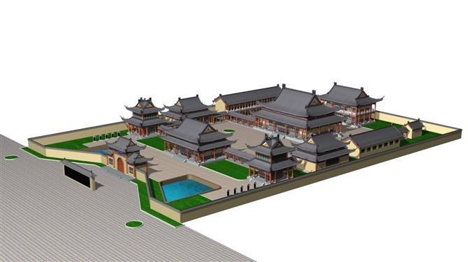 庙宇设计 寺院建筑鸟瞰图