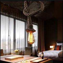 美式乡村工业风灯复古餐厅酒吧台服装店创意单头工装麻绳吊灯
