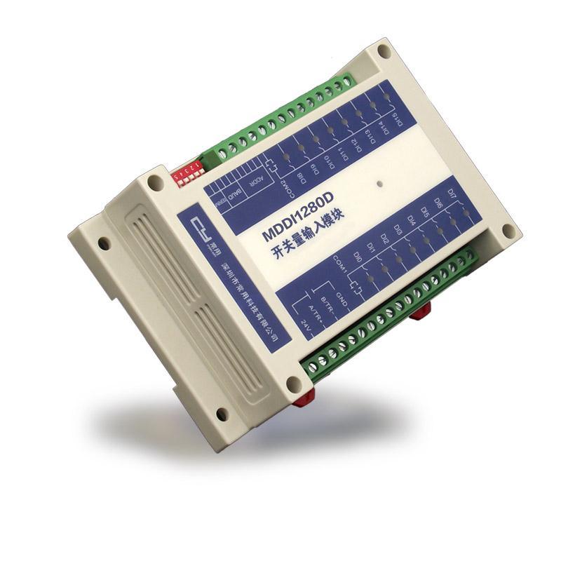 产品概述 MDDI/MDAI系列16路隔离开关量输入模块是一种通用型开关量数据采集模块,内嵌高性能ARM处理器,针对工业自动化控制场景而设计,采用电源、测量、通信互相隔离等技术,开关量检测输入端采用ESD、过压、过流保护等设计,具有性能稳定、抗干扰性强等特点。 MDDI/MDAI系列有2组相互隔离的开关量输入通道,每组8路,共16路,可输入24VDC、48VDC或220VAC的开关量信号,并通过RS485通信接口与上位机连接,将各通道数字状态信号传送给上位机,方便监测和控制之用。 MDDI/MDAI系列采