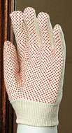供应EP品牌本白斜纹布点珠手套