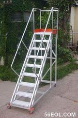 带护栏带轮子安全超高登高梯 小型登高梯