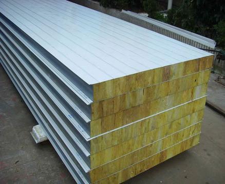 彩钢岩棉板夹芯复合板 彩钢岩棉复合板 彩钢岩棉板产品