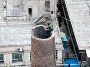 拆除40米砖砌烟囱