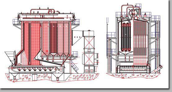 1,链条炉排锅炉本身设计为双锅筒,链条炉排,结构紧凑,受热面积大