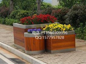 实木花箱 售楼部园林花槽 不锈钢包边花池