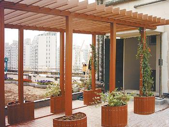 塑木木塑pe亲水平台户外阳台走廊花盘屋顶花园凉亭小桥葡萄架休闲椅