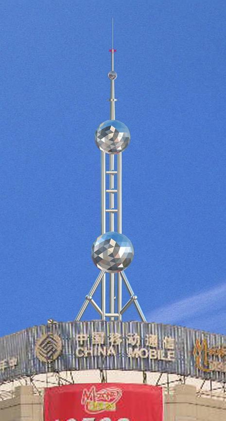装饰塔,楼顶不锈钢装饰塔,装饰避雷塔