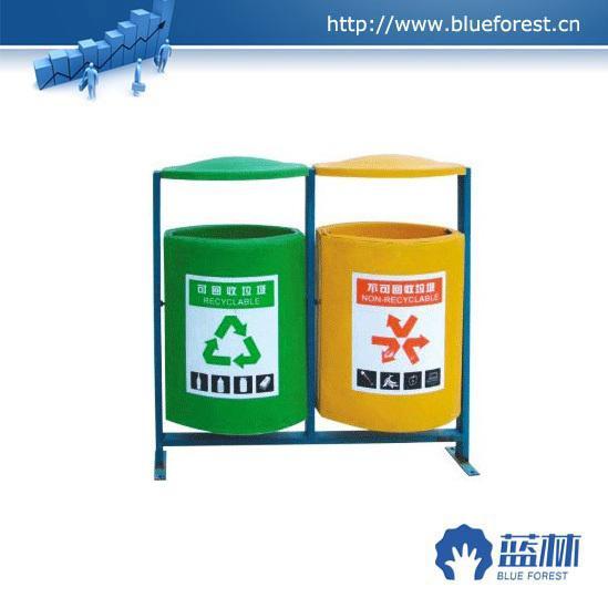 全手工制作环保玻璃钢加厚型双桶垃圾桶图片