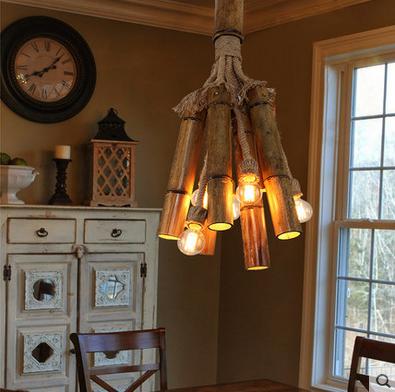 麻绳竹筒吊灯美式复古餐厅服装店灯具