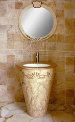 米黄色大理石浴室一体盆ZJ-6004B