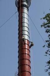 义乌烟囱刷航标,安装避雷针