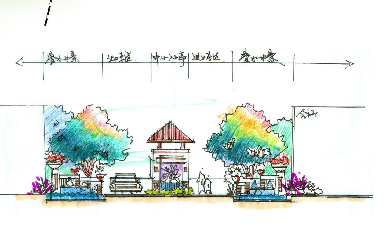 庭院手绘立面效果图_一大学公寓小区整套手绘图-建筑行业免费资料下载