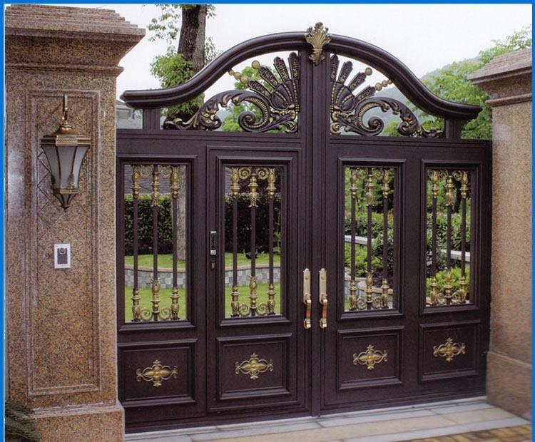 豪华铝合金别墅大门订制|户外铝艺庭院门