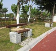 G603芝麻白简易花园长凳GCF492