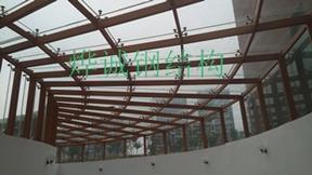 车库玻璃雨篷(木纹色)