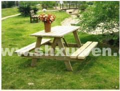 XC-006组合芬兰防腐木框架桌椅