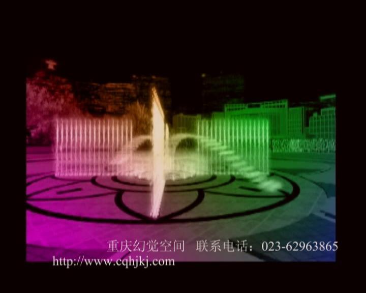 手绘彩色图纸喷泉