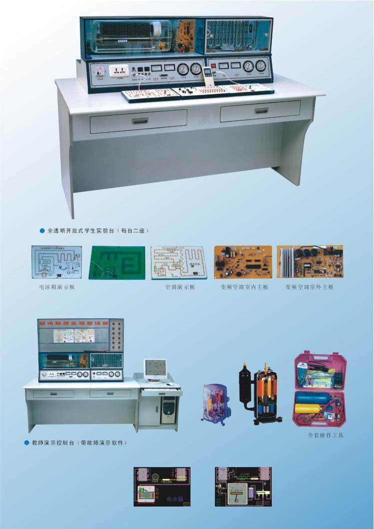 第八代制冷制热实验室设备采用了变频技术,先将单相交流电源经整流桥整流成 直流电,又经三相逆变桥把直流电逆变成频率任意可调的三相交流电,自动控制 压缩机的速度,达到节能的目的。另外新增加其它类型的空调、冰箱系统及电路十几 个机种,有利于学生更全面地掌握制冷制热技术。分体空调为立体结构,前面为仿真 室内机组,后部为仿真室外机组,室内机组改进为真实空调组件,外套真空调全透明 外壳。冰箱方面也进行了改进,前后格分开:前面为冷冻室,后面为电冰箱压缩机、 工作室、加装温度调节器。为了克服冰箱、空调温度显示的问题,