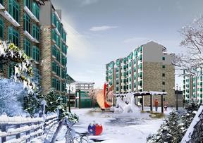 花园小区 雪景 效果图 成都