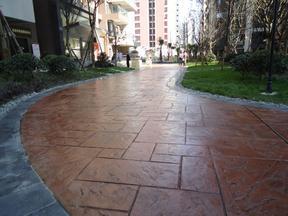 上海誉臻彩色压花地坪,压膜地坪,彩色透水地坪材料供应与施工