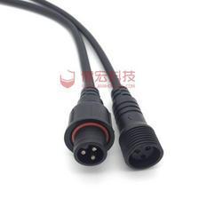 LED公母对接插头线防水三芯  LED户外防水插头