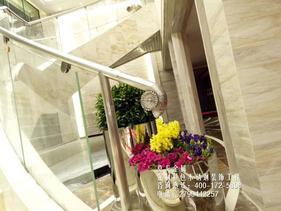 欧式拉丝白钛金不锈钢楼梯装饰栏杆