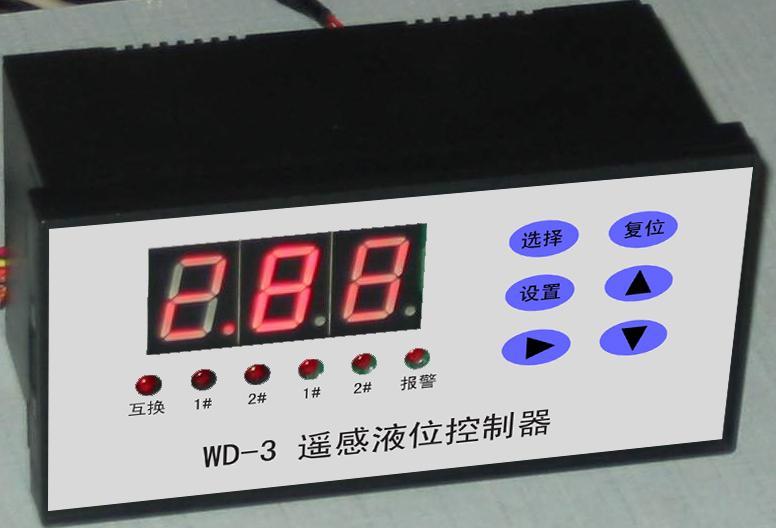 """超声波水位(液位)控制器: 使用超声探测液面与探头的距离。可显示探头到液面或溢流口到液面或液体深度。 可以分别设定起泵与停泵数值。决定泵的起动与停止。 有各种情况的报警输出。有电机缺相保护功能。 可以同时控制两台泵。 可以选择单独一台泵工作或两台泵互换工作。 有故障换泵功能 可以多台组网,由上位PC机监控运行 控制箱接线非常简单,请到图纸频道搜索"""""""