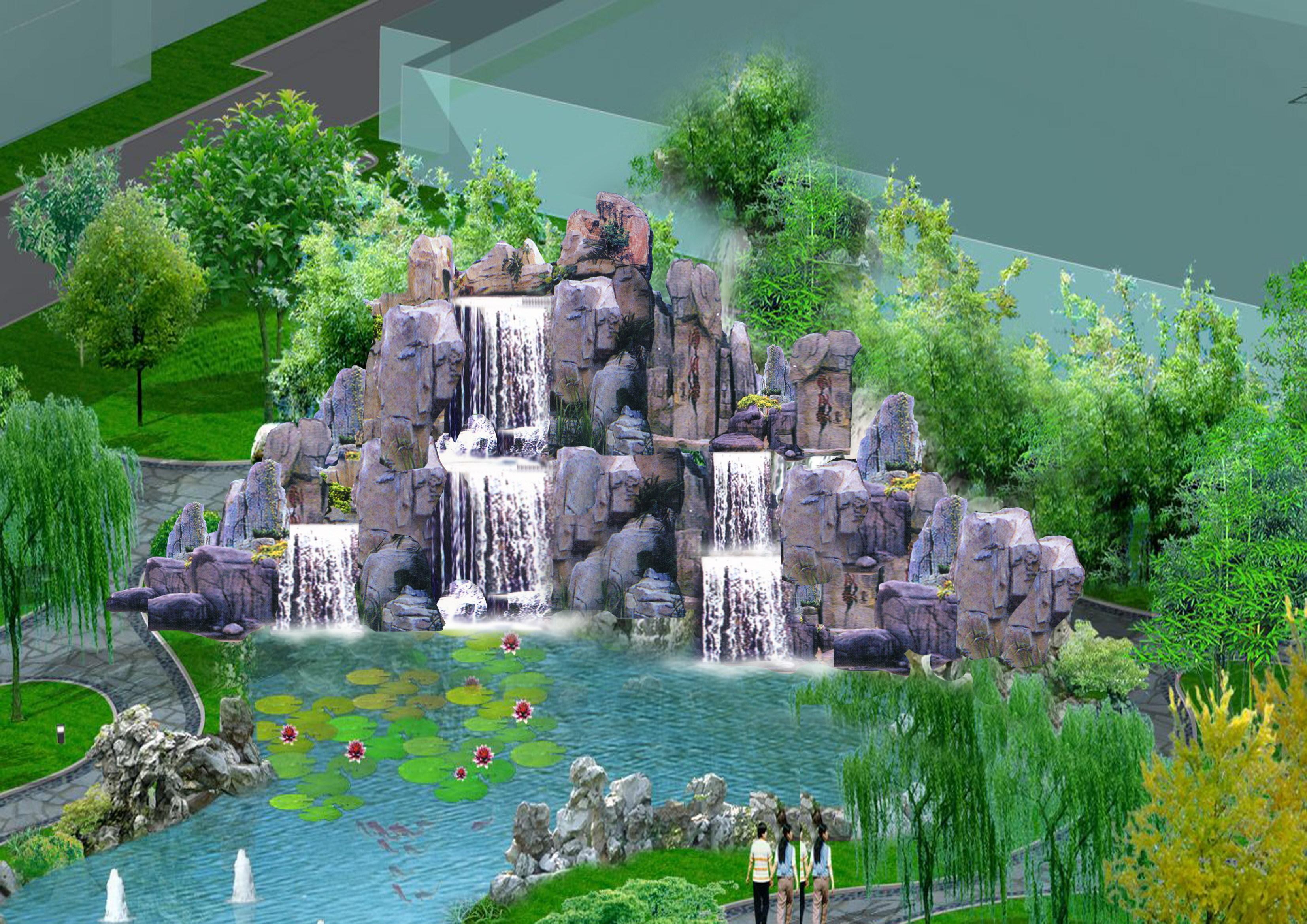 喷泉假山手绘效果图
