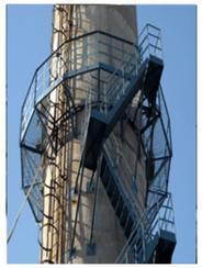 乌海烟囱安装旋转梯|烟囱折梯安装|烟囱安装检测平台