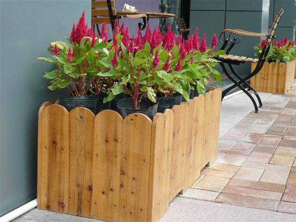户外园林小品圆形木花盆
