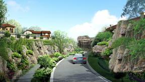 别墅区道路挡土墙假山塑石