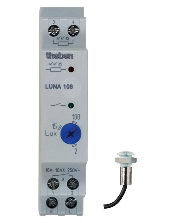 广州德朴智能为德国泰邦theben中国总代理商。theben德国泰邦分体安装光控开关光敏感应器LUNA108为分体式光控器,产品有可靠的质量长的使用寿命和精确的设定而受到用户的高度信赖,由感光探讨和控制主机两部分组成,最大的连接距离是100m,探头有嵌入安装和挂壁安装两种,主机为标准1模块DIN导轨安装,为紧凑型,适合安装在箱内狭窄的空间,更节省空间。单独继电器输出,触点容量16A、250V,需要的亮度值通过旋钮调节,设定范围2-100LX,有防止误动作延时固定20秒,有感光LED指示灯和线路接通指示灯。