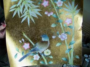 真丝手绘夹绢玻璃双面画壁画