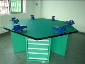 防护网实训工作台/钳工六角工作台/六工位钳工桌