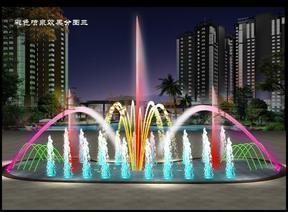 广场彩色旱式水景喷泉设备