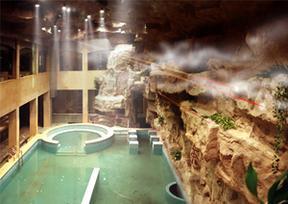 大型主题浴场设计施工-瀑布假山