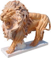 黄色大理石狮子雕刻MGL048