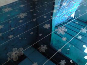 不锈钢卫浴板,宝石蓝木棉花不锈钢蚀刻板