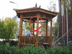 碳化木亭、私人定制木亭子、六角亭